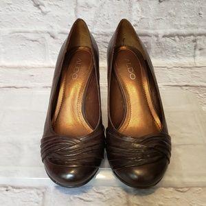 Aldo Shoes - ALDO Dark Brown Leather Wedge Heels 5